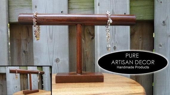 Bracelet Holder Wood Display Bracelet Organizer Bangle Holder American Walnut Color Traditional Stain T Bar Bracelet Holder