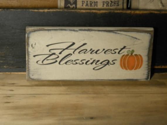 Harvest Blessings, primitive ,farm house, wooden sign