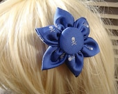 "Blue Silk ""Jolly Roger"" Skull & Crossbones Hair Clip/Pin"