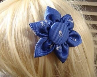"""Blue Silk """"Jolly Roger"""" Skull & Crossbones Hair Clip/Pin"""