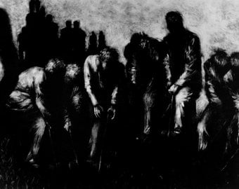 "Haunting Figure Print Black Landscape Dark Creepy Spooky Hand Pulled Fine Art Monotype ""Sequence"""