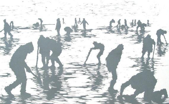 "Haunting Figure Print Grey Beach Landscape Dark Creepy Spooky Hand Pulled Fine Art Relief Woodcut ""Purgatory"""
