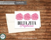 "25 Personalized Delta Zeta 3.5""x7"" Folded Notecards"