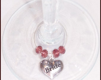 Wedding Wine Charms For Bridal Party Bride Groom Best Man & Maid Of Honor
