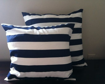 Navy and white stripe pillow cover