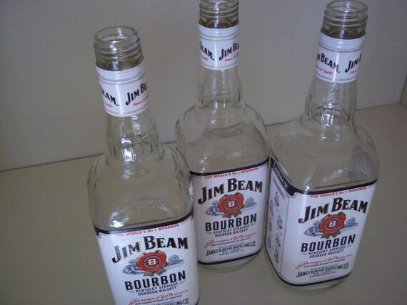 Lot Of 3 Empty Liquor Bottles Jim Beam Bourbon Bottle Crafts