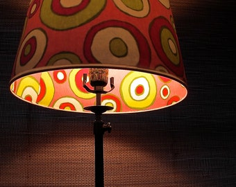 Peek-A-Boo Lamp Shade: Pink & Green Circles, Medium