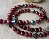 """925 """"Tropical Wine Red"""" Pearl & Crystal necklace  baroque cultured pearls  diamond cut amethyst crystals  Sterling Silver"""