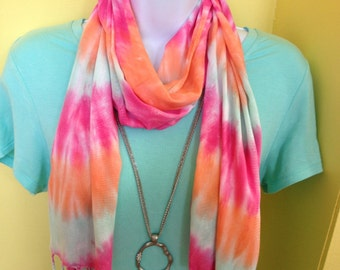 Hand dyed rayon scarf, tie dyed rayon scarf, fringe scarf, peach, pink and seafoam green scarf