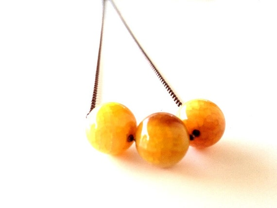 Three Golden-Yellow Fire Agate Orb's on Antiqued Copper Ball Chain, sphere, geometric, simple