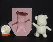 "Kawaii Chibi ""Teddy Bear"" Flexible Silicone Cabochon Push Mold For Polymer Clay (Sculpey/Fimo) Or Resin."