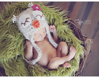 POPULAR sleepy eye owl hat. Girl sleepy eye owl hat with pink flower. Newborn baby girl photo prop fuzzy owl hat.