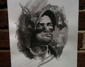 Bill Murray as Carl from Caddyshack, Original Watercolor Portrait