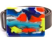 Handmade Glass Belt Buckle- Mod Aqua, Orange, Cobalt