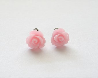 Tiny Soft Pink Rose Earrings, Under 5 Dollars, Bridesmaid Gift