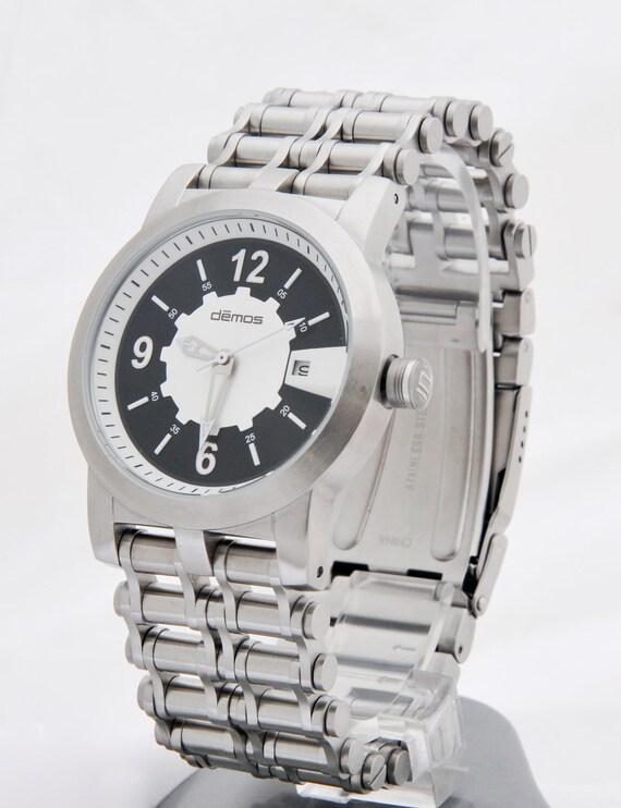 Motorcycle Bracelet Watch / Bikers wristwatch - brushed stainless steel bracelet Chain