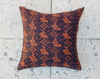 IKAT THROW PILLOW Cover, Tribal Pillow - Orange/Black 20x20 inch, Ethnic pillowcase,Decorative Cushion cover, Indie pillow, Throw pillow