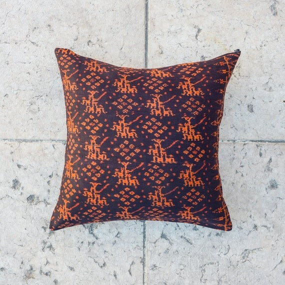 IKAT THROW PILLOW Cover, Tribal Pillow - Orange/Black 20x20 inch, Ethnic pillowcase,Decorative Cushion cover, Indie pillow, Throw pillow