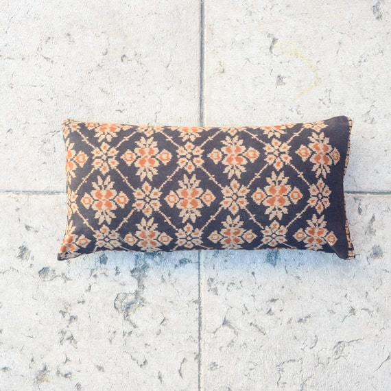 IKAT Pillow Cover, Vintage Floral Pattern, 12x23 inch