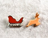 Handpainted ceramic Sleigh and Reindeer pins set of two