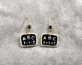 Handpanted ceramic chalk board earrings