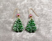 Handpainted ceramic Christmas Tree Earrings w 12K gold filled ear wires