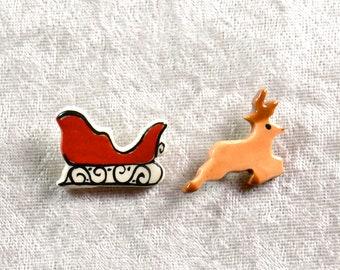Handpainted ceramic Sleigh and Reindeer pins set of two