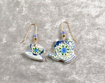 Handpainted Teapot and teacup ceramic earrings w beads.