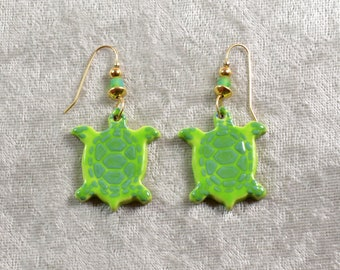 Handpainted ceramic green sea turtle earrings