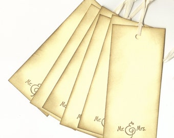 Wedding Wish Tags Mr. and Mrs. Hang Tags / Wedding Shower, Place Cards, Escort Cards Set of 6