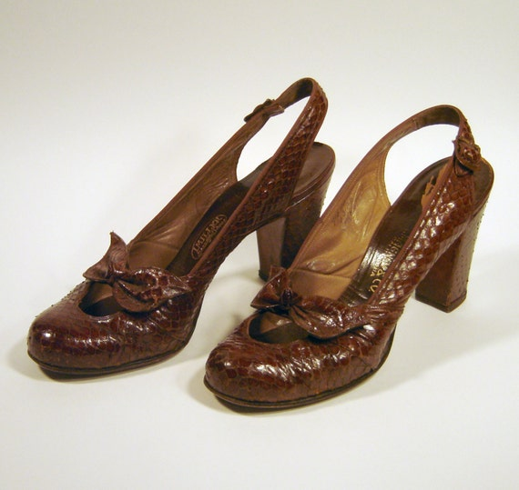 I. Miller Vintage Rich Coffee Brown Python Snakeskin Sling Back Heels with Bows & Chunky Heel