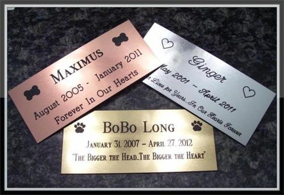 "Custom Dog Cat Pet Memorial Headstone Marker Plate Brass Silver Copper up to 21"" Square Inches"
