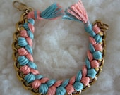 Teal/Peach Friendship Chain Bracelet