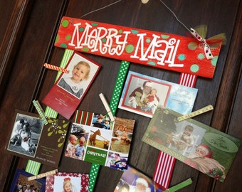 Merry Mail Christmas Card holder  custom hand painted cute original sign display clothespins