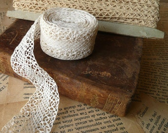 Antique French Lace Trim 1 1/4 inch Unbleached per yard perfect for dollhouse