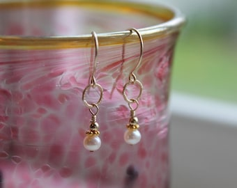 Freshwater Pearl and Gold Drop Earrings