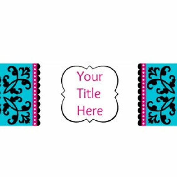 PreMade Blog Banner with Turquoise Pink Black Floral
