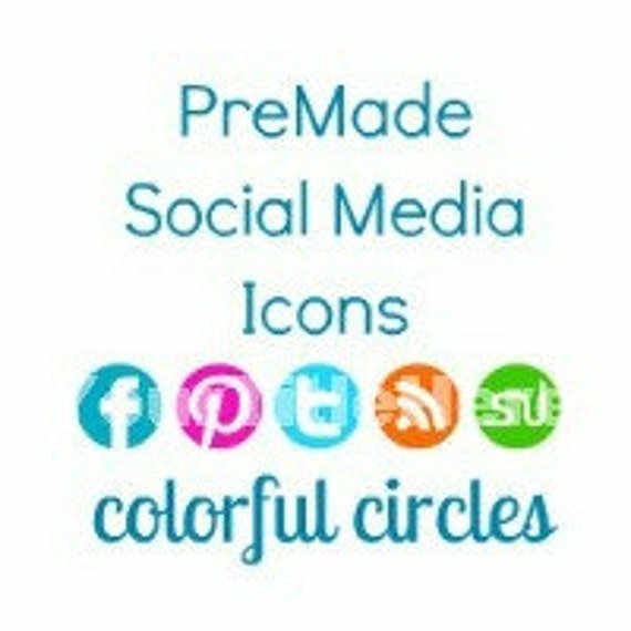 PreMade Social Media Icon Colorful Circles - Turquoise, Pink, Blue, Orange, Green, Purple