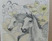 Pair of Vintage Original Book Illustration Sketch Prints of Horses