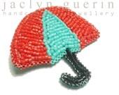 Handbeaded Umbrella Brooch - Limited Edition