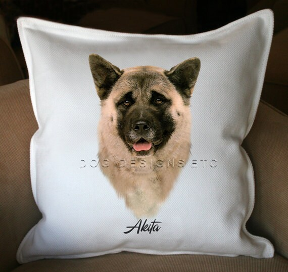 Akita - 20x20 Cotton Pillow Cover - name can be personalized