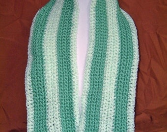 Green Two-Tone Waterfall --  A Scarf for Everyday