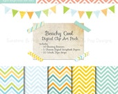 INSTANT DOWNLOAD - Digital Scrapbook Kit - Chevron papers backgrounds, Bunting Banners, Washi Tape,  for scrapbooking, invitations, and more