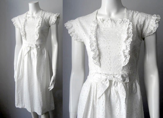 1940s white lace dress cotton eyelet by stardustvintagestore for White cotton eyelet wedding dress