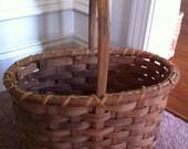 Vintage Wicker Wood Natural Basket w Rope Inlay