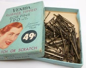 Vintage Venida Bobby Pins and Box, 1950s, 1960s,  bobby pins, old bobby pins, vintage bobby pins, pin up, hair accessories