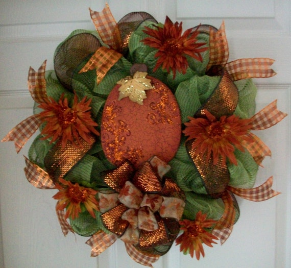 """Take 10.00 Off..Summer Sale..Use Coupon Code at Checkout..The """"Royal Pumpkin"""" Wreath"""