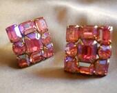 Vintage Earrings Juliana-Style Estate Pink AB Rhinestones