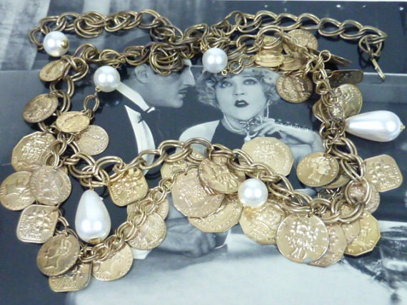 VINTAGE FRENCH COINS and pearls belt or statement necklace
