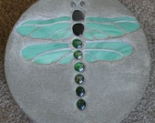 Green Dragon Fly Stained Glass Stepping Stone.  Perfect for adding charm to the lawn or garden.